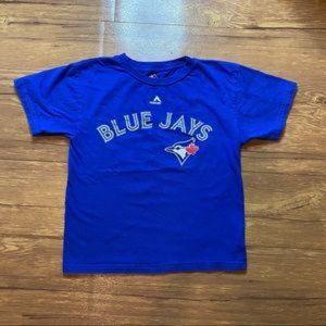 Boys Majestic Blue Jay's Tshirt Large